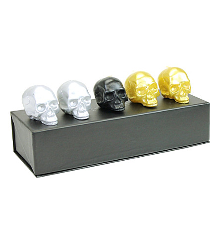 D.L. & CO Memento Mori set of five mini skull candles