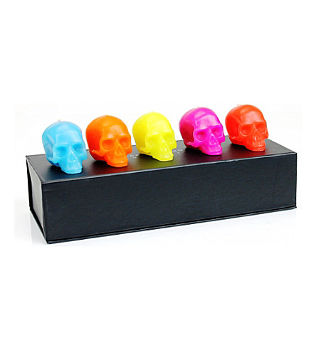 D.L. & CO Memento Mori set of five mini skull candles set