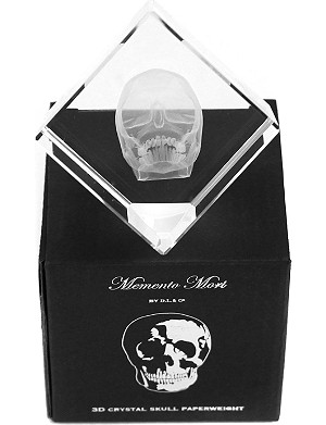 D.L. & CO Memento Mori 3D crystal skull paperweight