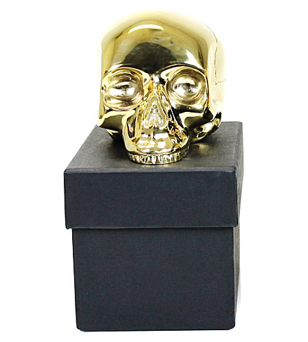 D.L. & CO Memento Mori medium gold-plated skull