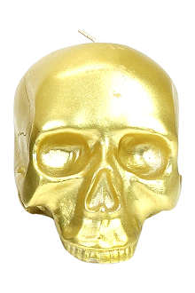 D.L. & CO Medium gold skull candle