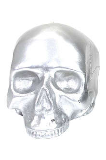 D.L. & CO Medium silver skull candle