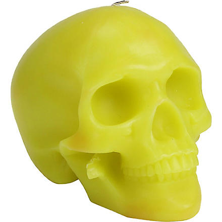 D.L. & CO Memento Mori green skull with mandible candle