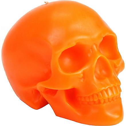 D.L. & CO Memento Mori orange skull with mandible candle