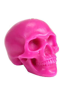 D.L. & CO Memento Mori pink skull with mandible candle