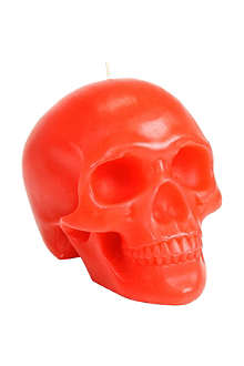 D.L. & CO Memento Mori red skull with mandible candle