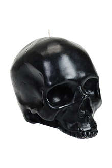 D.L. & CO Memento Mori black skull with mandible candle