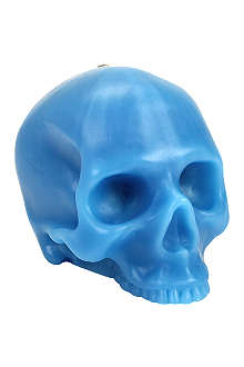 D.L. & CO Large blue skull candle