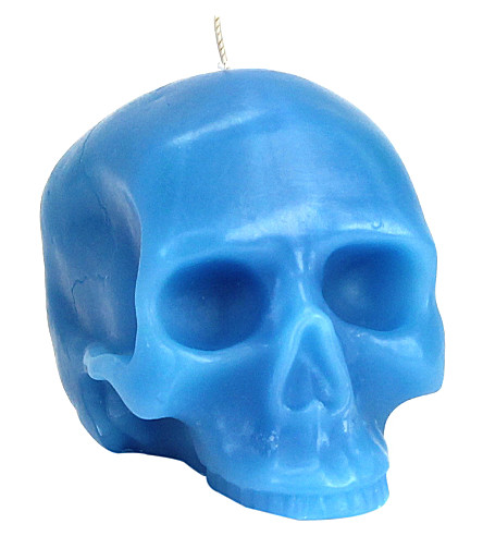 D.L. & CO Medium blue skull candle