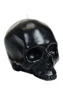 D.L. & CO Large black skull candle