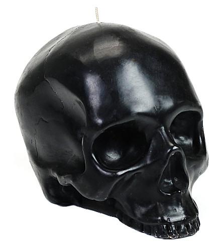 D.L. & CO Large black skull candle