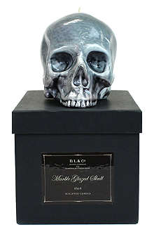 D.L. & CO Large marble glazed skull candle