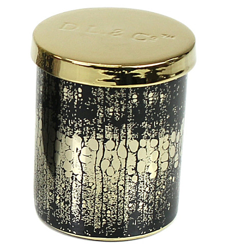 D.L. & CO Golden Woods black tumbler candle