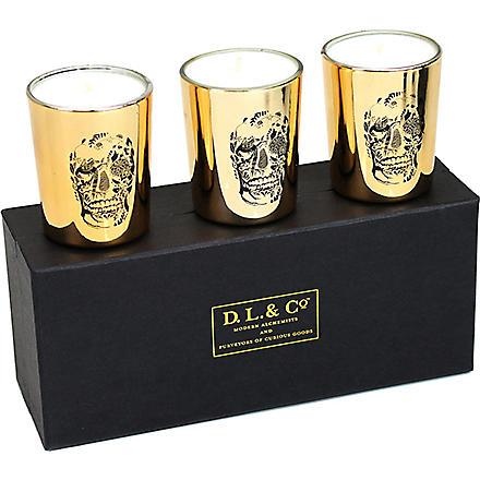 D.L. & CO Set of three Delft Skull votive set