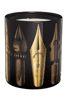 FORNASETTI Pennini gold and black candle