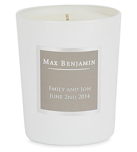 MAX BENJAMIN White Pomegranate Personalised Candle