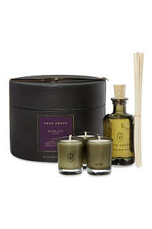 TRUE GRACE Black Lily Room Diffuser & Votive gift set