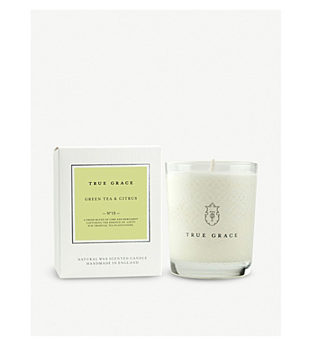TRUE GRACE Village green tea and citrus scented candle