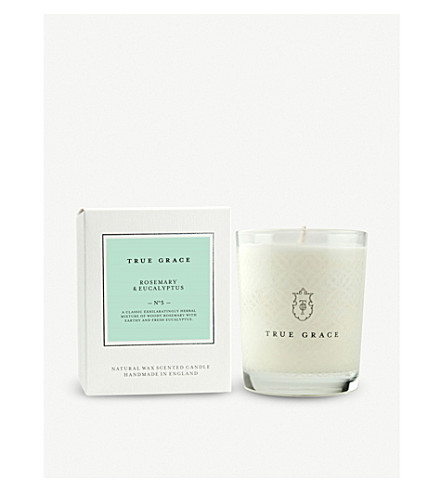 TRUE GRACE Village rosemary and eucalyptus scented candle 190g