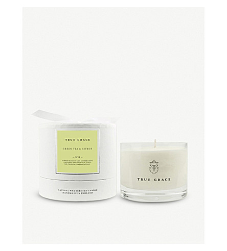TRUE GRACE Village Green Tea and Citrus scented candle 225g