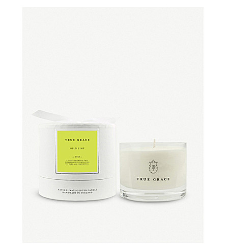 TRUE GRACE Village small bowl wild lime scented candle 225g