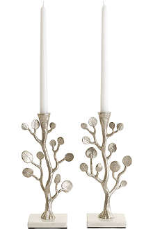 MICHAEL ARAM Set of two Botanical Leaf candle holder