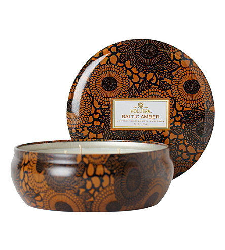 VOLUSPA Japonica three-wick baltic amber candle in printed tin