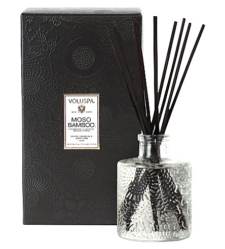 VOLUSPA Japonica three-wick moso bamboo candle in printed tin