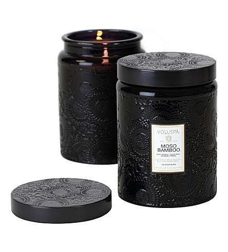 VOLUSPA Japonica large embossed-gold moso bamboo candle