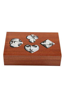 FORNASETTI Visi Faces wooden playing cards box