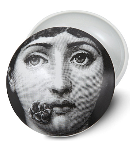 FORNASETTI T&V porcelain box with lid