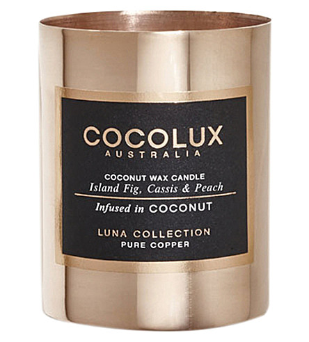 COCOLUX Island fig cassis and peach copper candle 150g