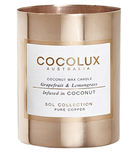 COCOLUX Grapefruit and lemongrass copper candle 150g