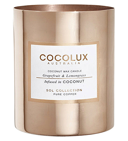COCOLUX Grapefruit and lemongrass copper candle 350g