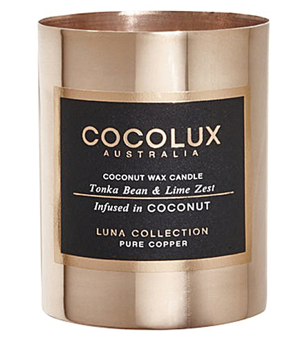 COCOLUX Tonka bean and lime zest copper candle 150g
