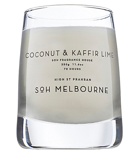 SOH MELBOURNE Coconut & Kaffir Lime glass scented candle