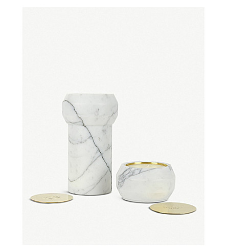 OOUMM Octans Statuary marble candle holder 25cm