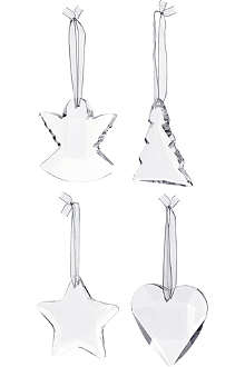 KENNETH TURNER Set of four crystal tree decorations
