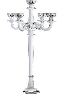 KENNETH TURNER Tall five-arm crystal candelabra 70cm