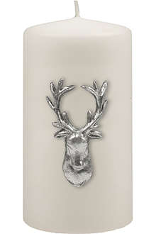 KENNETH TURNER Stag pillar candle white 13cm