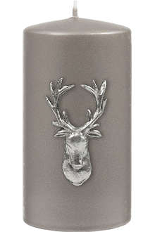 KENNETH TURNER Stag pillar candle gunmetal 13cm