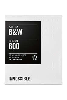 Black & White Instant Film for Polaroid 600-type cameras single pack