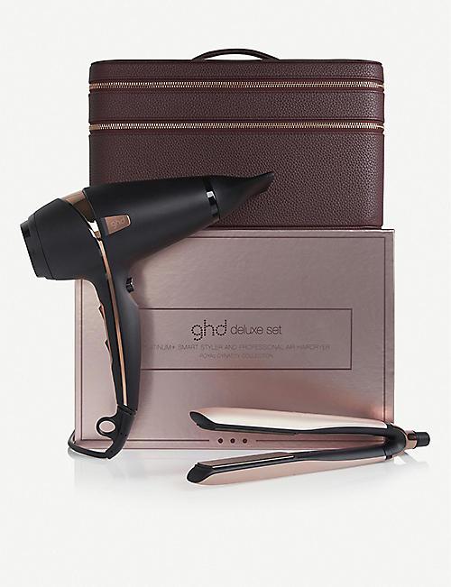 GHD 皇家王朝铂金+造型夹和 空气*?专业吹风机豪华套装