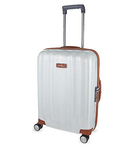 SAMSONITE Lite-Cube DLX four-wheel spinner cabin suitcase 55cm (Toffee/white