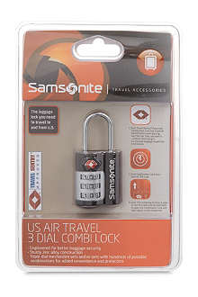 SAMSONITE US Air Travel 3 Dial cable lock