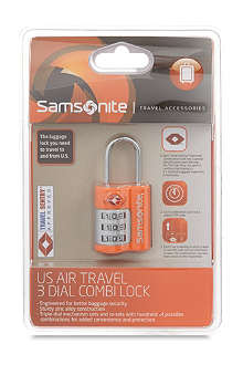 SAMSONITE US Air Travel 3 dial combi lock