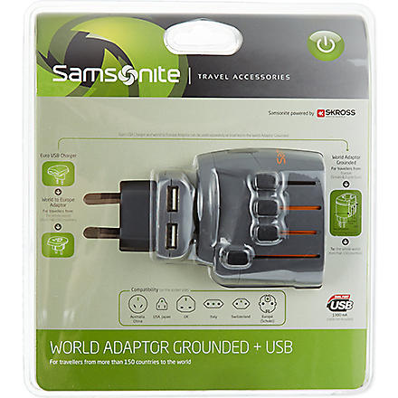 SAMSONITE World adaptor grounded & USB (1374 / graphite