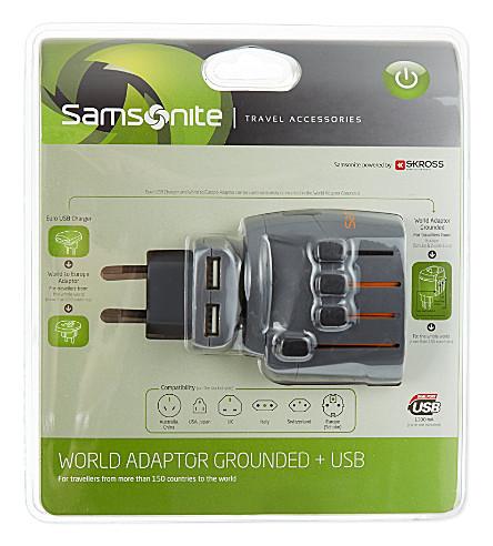 SAMSONITE World adaptor grounded & USB (1374 / graphite