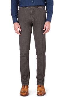 BOGLIOLI Herringbone garment-dyed trousers