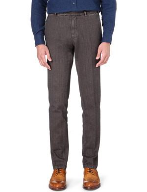 BOGLIOLI Herringbone garment-dyed trousers